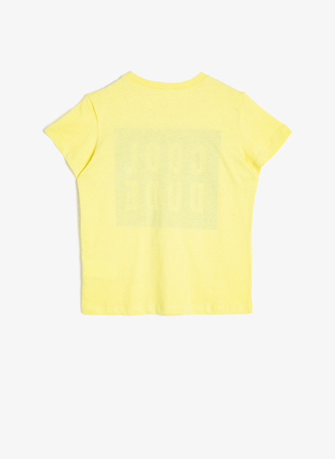 Koton Kids Yazili Baskili T-Shirt Sarı